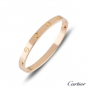 Cartier Rose Gold Plain Love Bracelet Size 18 B6095618